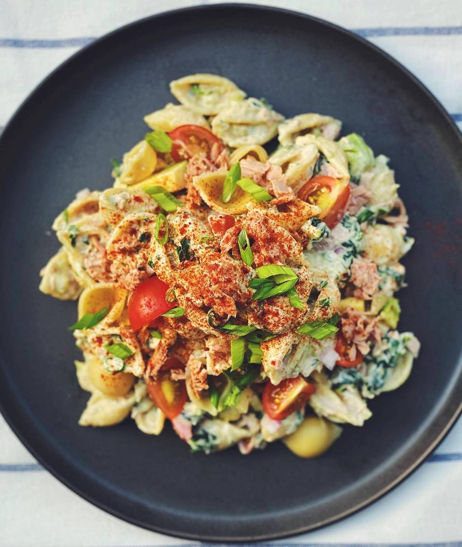 This simple tuna noodle salad recipe can be refined with boiled potatoes, grated cheddar cheese, and jalapenos.  Photo: Nicole Barua